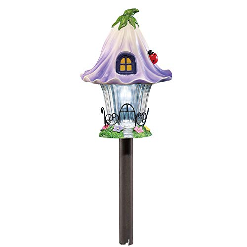 - Solar Fairy Cottage House Stake for Garden, Backyard, Landscaping, and Pathway, Purple