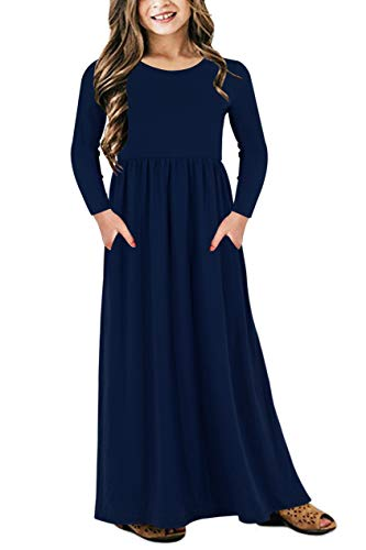 Children Holiday Dresses (GORLYA Girl's Long Sleeve Floral Print Loose Casual Holiday Long Maxi Dress with Pockets 4-12 Years (6-7Years/Height:120cm, Navy)