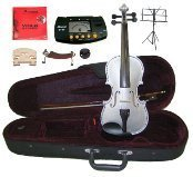 Merano 12'' Silver Viola with Case and Bow+Extra Set of Strings, Extra Bridge, Shoulder Rest, Rosin, Metro Tuner, Black Music Stand, Mute by Merano