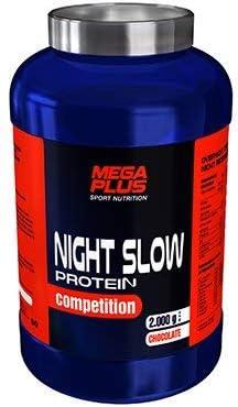 MEGA PLUS NIGHT SLOW PROTEIN COMPETITION - Complemento alimenticio a base de proteina de lenta absorción, Gaba y Triptófano - 1Kg, Chocolate con leche