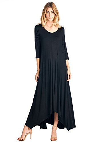 (12 Ami Solid 3/4 Sleeve Pocket Loose Maxi Dress Black)