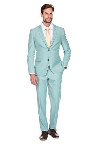 (Milano Vichee Men's Suit Slim Fit Wrinkle Free Two Button 2 Pieces Set (Jacket+Pant) Tuxedo Business Wedding Party Casual Color:Mint)
