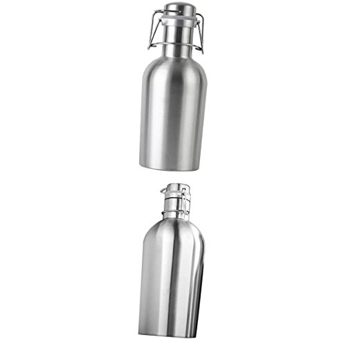 1 / Beer 2l (MagiDeal Swing Top Hip Flask Stainless Steel Home Brew Beer Growler Bottle 1L+2L)