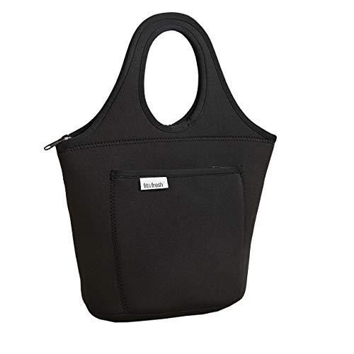 Fit & Fresh Hawthorne - Bolsa de neopreno para almuerzo para adultos y niños, Negro, 8' x 6' x 14', 1