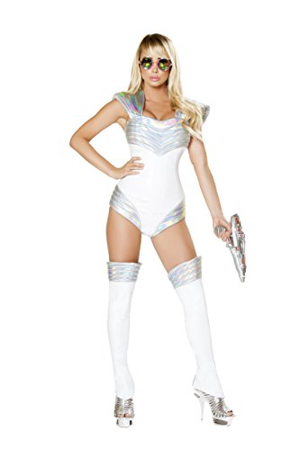 Barbarella Costume - Sexy Women's 1pc Barbarella Space Soldier Romper White/Silver Costume (L)
