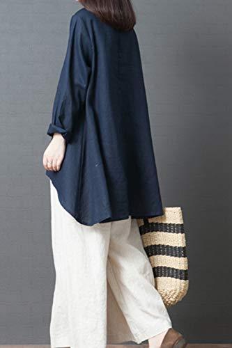 Blouse Longues Fasumava De Coton Casual Fonc Automne Bleu Manches Linene Tops Printemps Femmes qvwaURq