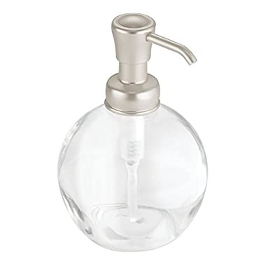InterDesign Hamilton Glass Soap & Lotion Dispenser Pump for Kitchen or Bathroom Countertops, Clear/Brushed