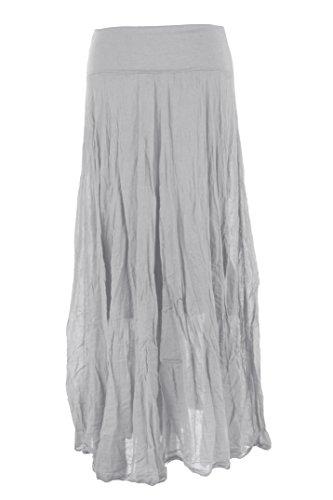 TEXTURE Ladies Womens Italian Lagenlook Cotton Panel Handkerchief Asymmetric Hem Long Maxi Boho Skirt One Size Light Grey