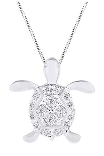 0.13 Carat (ctw) Round White Natural Diamond Turtle Pendant Necklace in 14K White Gold Over Sterling Silver