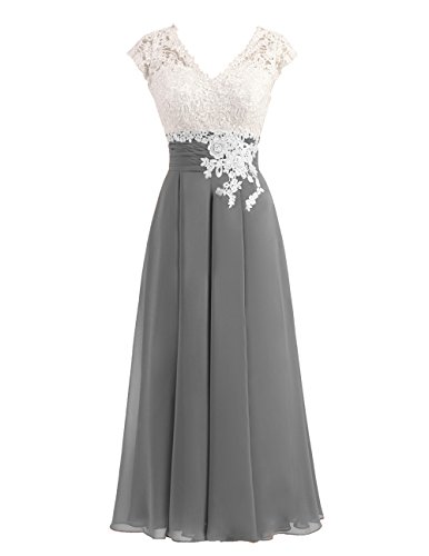 Women's Ivory Lace Top Chiffon Button V-Neck Bridesmaid Dresses with Cap Sleeves Mother of The Bride Dresses (US12, Dark Grey)