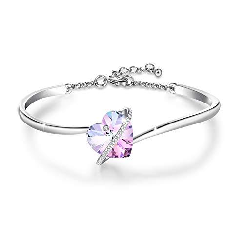 Jewelryland White Gold Plated Swarovski Heart Crystal Bangle Bracelet (Purple)