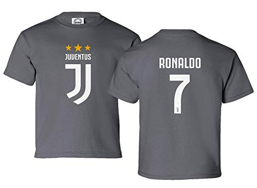best service 7bab3 30fa3 Spark Apparel Soccer Shirt #7 Cristiano Ronaldo Juve CR7 Boys Girls Youth  T-Shirt (Gray, Youth Small)