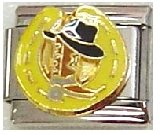 (Clearly Charming Horseshoe, Boot and Hat Italian Charm Bracelet Link)