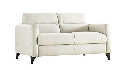Natuzzi Editions Isacco Cream Leather Stationary Loveseat ()
