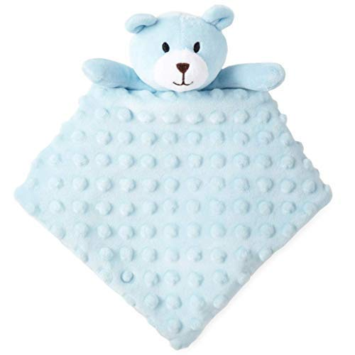 (Okie Dokie Blue Teddy Bear Lovey Security Blanket for Baby)