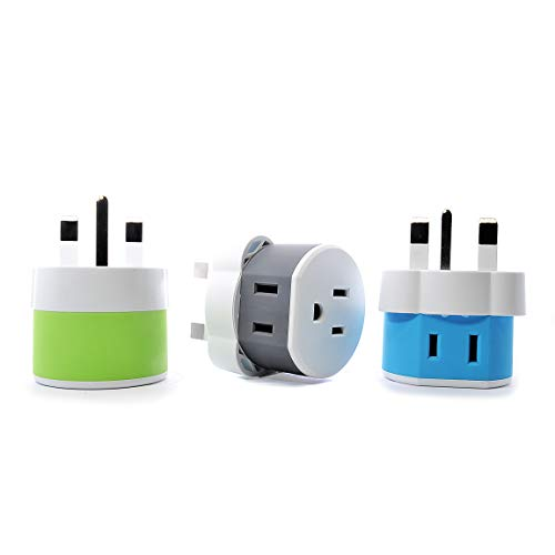 OREI UK, Ireland, Dubai Travel Plug Adapter - 2 USA Inputs - 3 Pack - Type G (US-7) - Does Not Convert ()