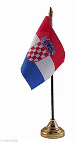 4 oro Bandiera Croazia poliestere da tavolo 15,24 cm 6 10,16 cm X Base