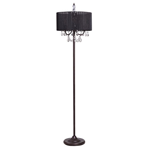 Black Floor Lamp - Tangkula Crystal Floor Lamp Sheer Shade Elegant Design Floor Light Tall Upright lamp Stand Light with Led Bulbs for Living Room, Bedroom and Office(Black)