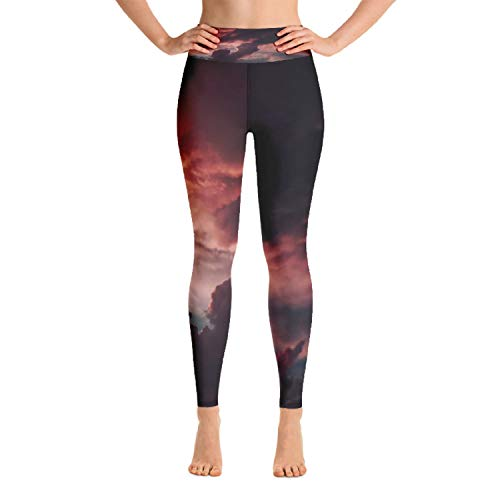 (Womens Yoga Leggings Activewear Red Storm All Over Print)