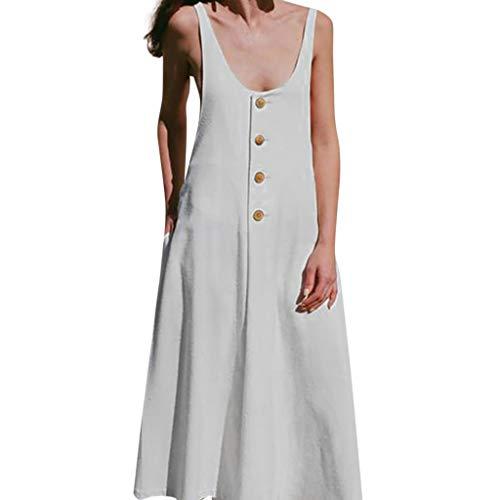 Beihxwe Women Boho Dress Silod Print Sleeveless Sundress Summer Loose Linen Button Down A line Shift Dresses (M, White)