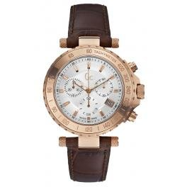 Guess Collection GC Men's Chronograph Rose Gold Case w/Brown Leather Band Watch, X58004G1S