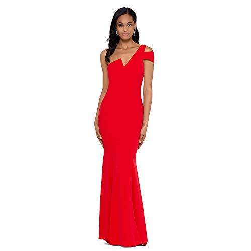 Long Slim One Shoulder Dress | with Cold Shoulder and V Notch Front | Formal Dress for Women, Party & Wedding Dress Red