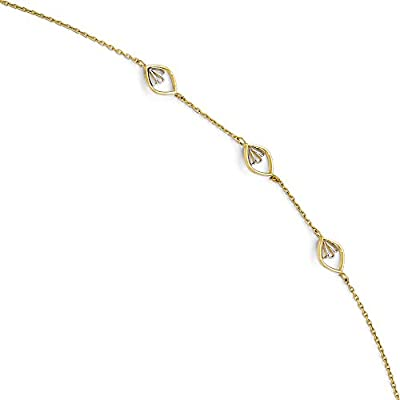 hot Black Bow Jewelry 14k Yellow Gold & White Rhodium Fancy Marquise Link Anklet, 9-10 Inch for cheap