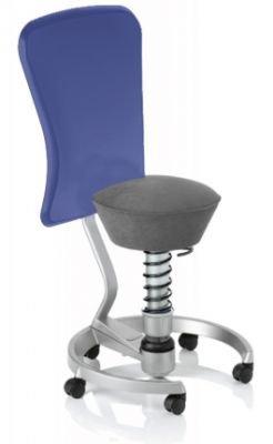 Aeris Swopper Classic - Bezug: Microfaser / Smoke-Grau | Polsterung: Tempur | Fußring: Titan | Universalrollen für alle Böden | mit Lehne und blauem Microfaser-Lehnenbezug | Körpergewicht: SMALL