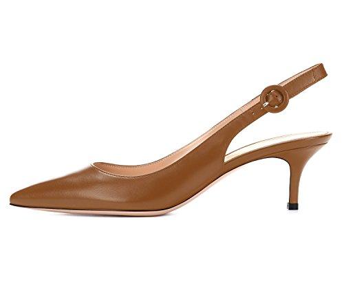 Col Marrone Eleganti Tacchi Slingback Caviglia Con Da 65mm Donna Scarpe Tacco Alla Alti Ubeauty Cinturino qS681tWO