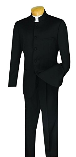 - Vinci Men's 5 Button Single Breasted Classic Fit Banded Collar Suit 5HT-Black-42R