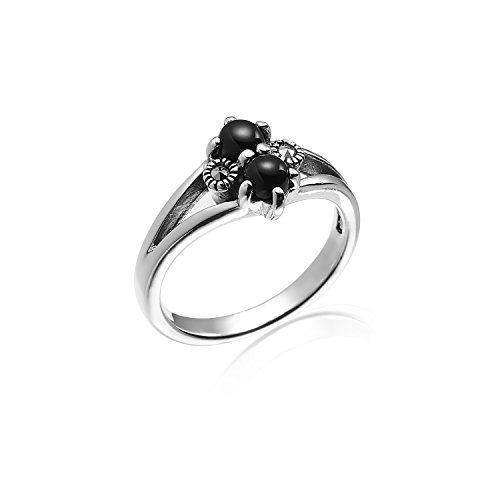 Chuvora 925 Oxidized Sterling Silver Marcasite Black Onyx Double Round Ring Size 8 - Nickle - Marcasite Silver Ring