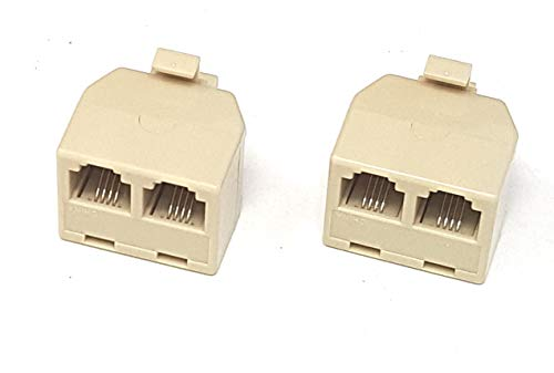 Corpco RJ11 6p4c Duplex Wall Jack Adapter - Ivory, 4 conductor Pack of 2