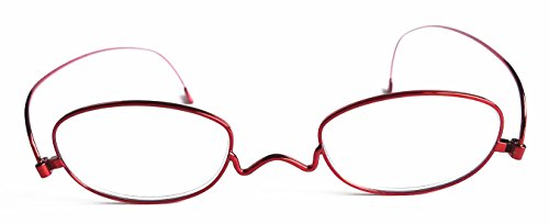 (Women Thin Reading Glasses 2.0 Impeccable Quality,Granny Look Timeless,No Glare Scratch Resistance,Anti-Eyestrain Urban Stylish,Thickness only 2mm Strength 200-PD(Rose Red, Strength +2.0))