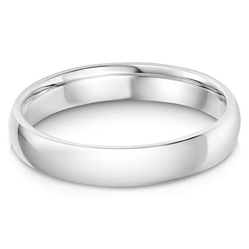 Ioka - 14k Solid White Gold 4mm Plain Comfort Fit Wedding Band - size 8.5