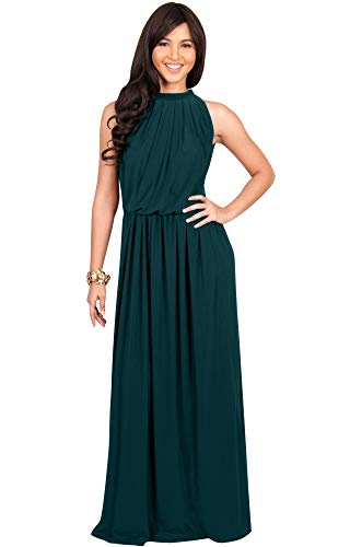 KOH KOH Womens Long Sexy Sleeveless Bridesmaid Halter Neck Wedding Party Guest Summer Flowy Casual Brides Formal Evening A-line Gown Gowns Maxi Dress Dresses, Hunter Green 2XL 18-20 47 Chest 37 Sleeve