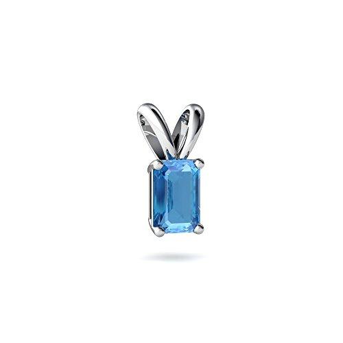 (14kt White Gold Blue Topaz 6x4mm Emerald_Cut Solitaire Pendant)