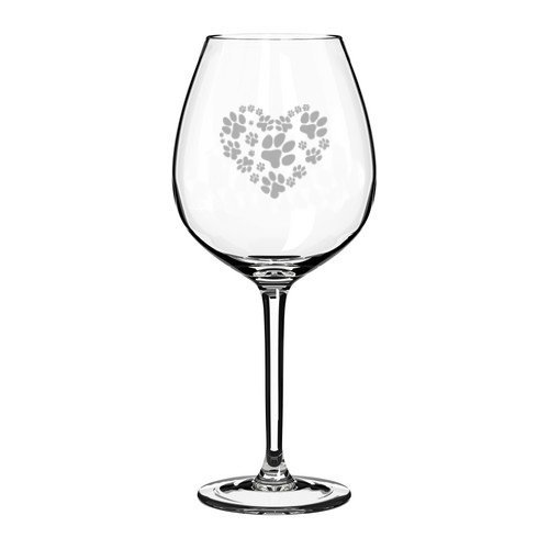 11 oz Jumbo Wine Glass Heart Love Animals Paw Prints by Mugsan