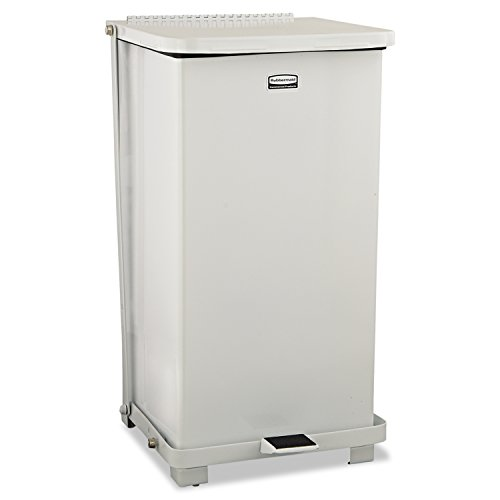 Rubbermaid Commercial RCP ST12-ERBWHI Defenders Biohazard Step Can, Square, Steel, 12 gal, White ()