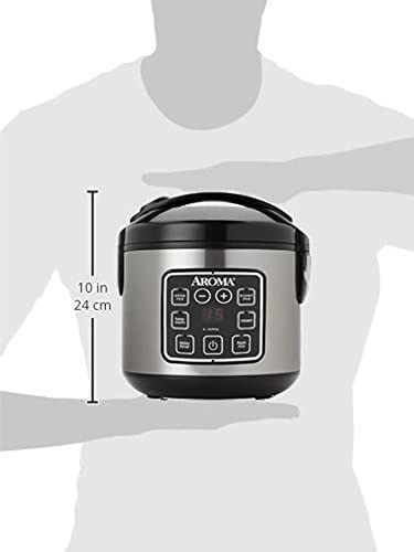 Aroma Housewares 2-8-Cups (Cooked) Digital Cool-Touch Rice Grain Cooker and Food Steamer, Stainless, 8 Cup, Silver 31 8iIAGdkL