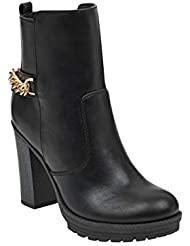 G by GUESS Women's Greedy Chain-Link Block Heel Booties