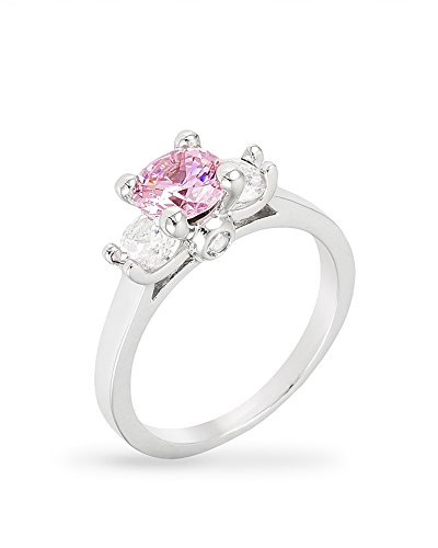 CZ Triplet Ring with Round Cut Pink Ice Color CZ and Clear CZ Accents in a Prong Setting Size 6