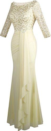 plissettato Sirene Angel 4 Donna mode Maniche Champagne Paillettes con 3 drappeggio HqzS8wxH