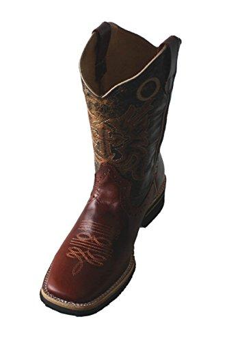 Mens Stivali Da Cowboy In Vera Pelle Di Mucca Pelle Stivali Quadrati Cognac