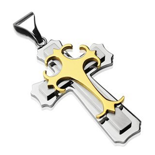 Stainless Steel Double Cross w/ Gold Colored Gothic Top Cross Pendant - 55mm x 35mm by Pendants - Stainless Steel