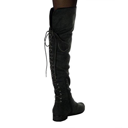 Lacets Botte Fourrée Souple Talon Intérieur Angkorly Gris Noeud Perforée Mode Bloc Cuissarde Cavalier Chaussure 3 Femme Cm qxHHftn8W