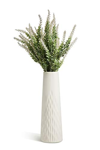 (Opps Artificial Lavender Flowers Bouquet with Special White Ceramic Vase for Home, Party & Wedding Décor - White)