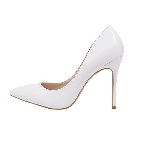 Women's High Heel Stiletto Pointed Toe Pumps(White) - 9