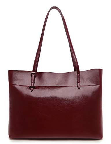 f4ccf8769100 Covelin Women s Handbag Genuine Leather Tote Shoulder Bags Soft Hot Wine red