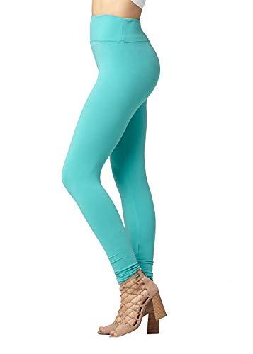 Premium Ultra Soft High Waist Leggings for Women - SL3 Full Length Mint Green - Small/Medium