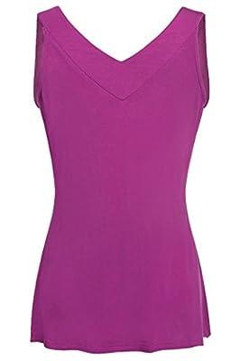 Ninedaily Women Comfy Sleeveless Tunic Top Pleated V Neck Tanks Vest Summer